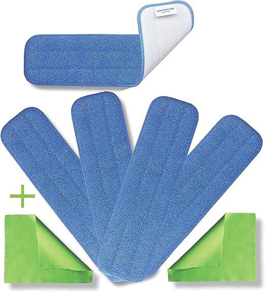 2 Set Microfiber Mop Pads Flat Mop Accessories Home Cleaning Supplies Grey