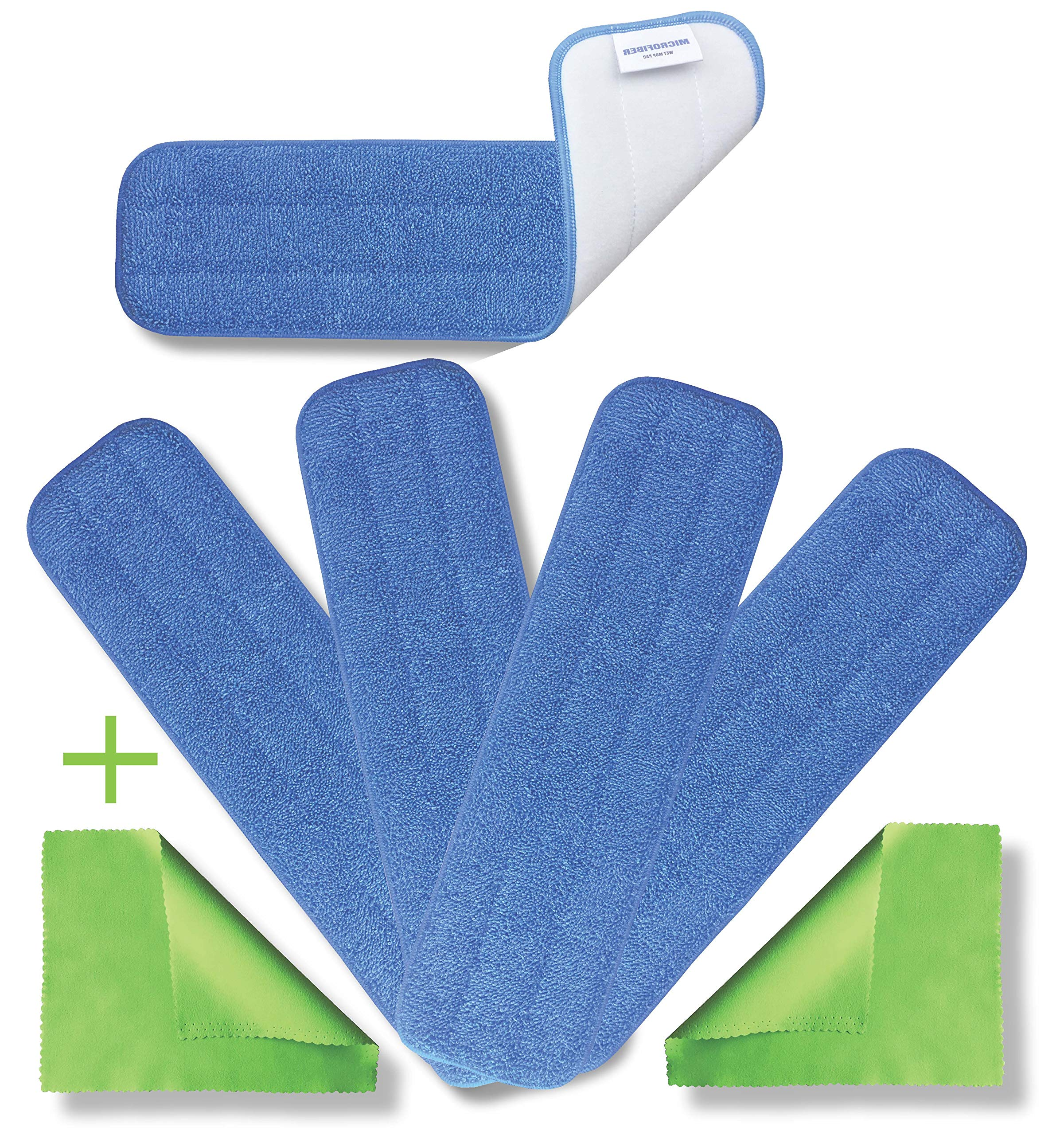 """Microfiber Pros Reusable 18"""" Mop Pads – 5-Pack with 2 Bonus Cloths - Commercial Grade 450 GSM Flat Replacement Heads for Wet Or Dry Floor Cleaning and Scrubbing"""