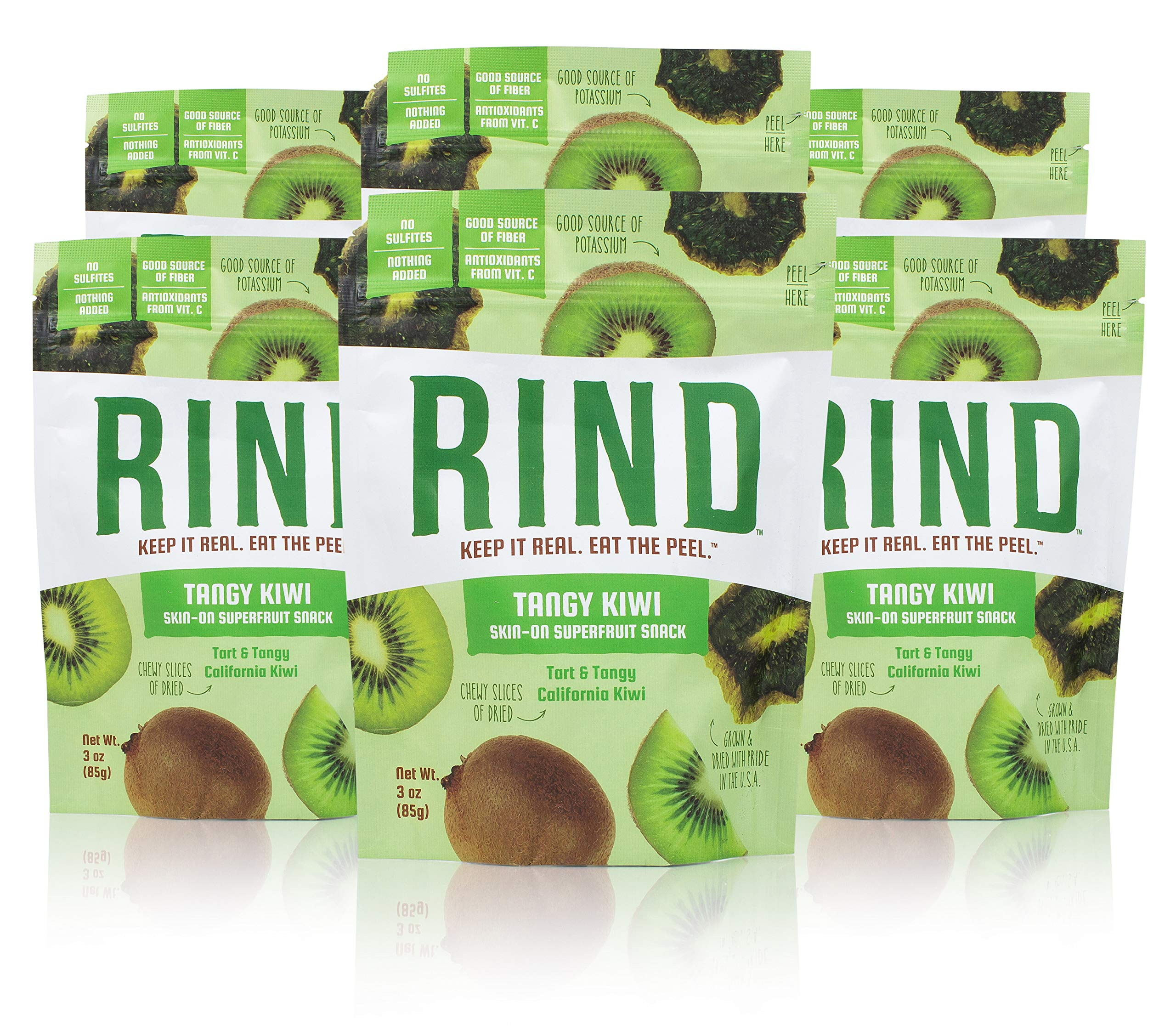 RIND Snacks Tangy Kiwi Sun-Dried Skin-On Superfruit Snack, High Fiber, No Sulfites, Antioxidants from Vitamin C, Non-GMO, Gluten-Free, 3oz Pouch, Pack of 6 by RIND Snacks