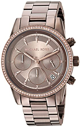 Michael Kors Womens Ritz Quartz Stainless Steel Casual Watch, Color:Brown (