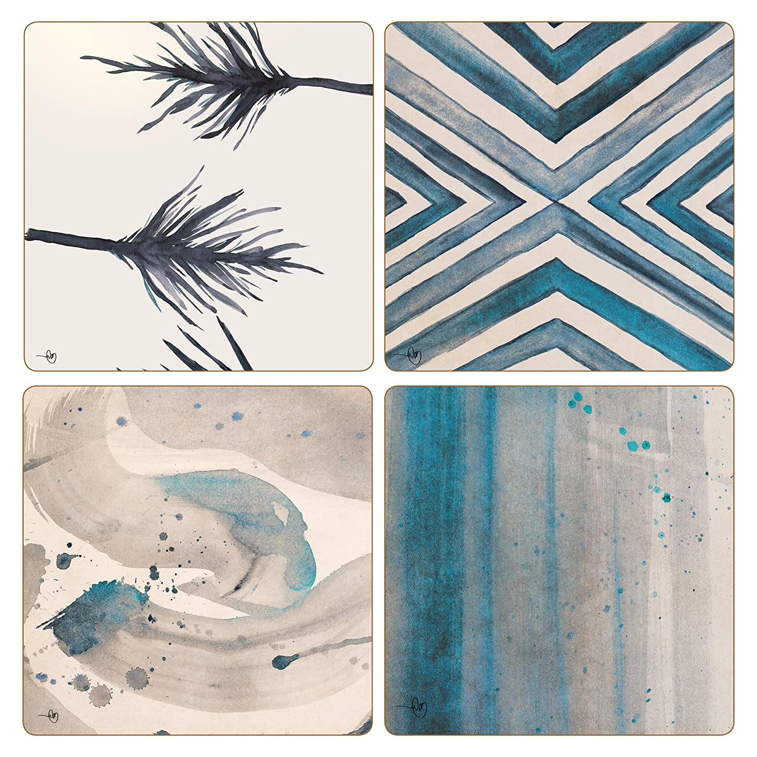 Multicolor 4-1//4 4-1//4 Set of 4 CoasterStone AS10176Square Rainfall Absorbent Coasters