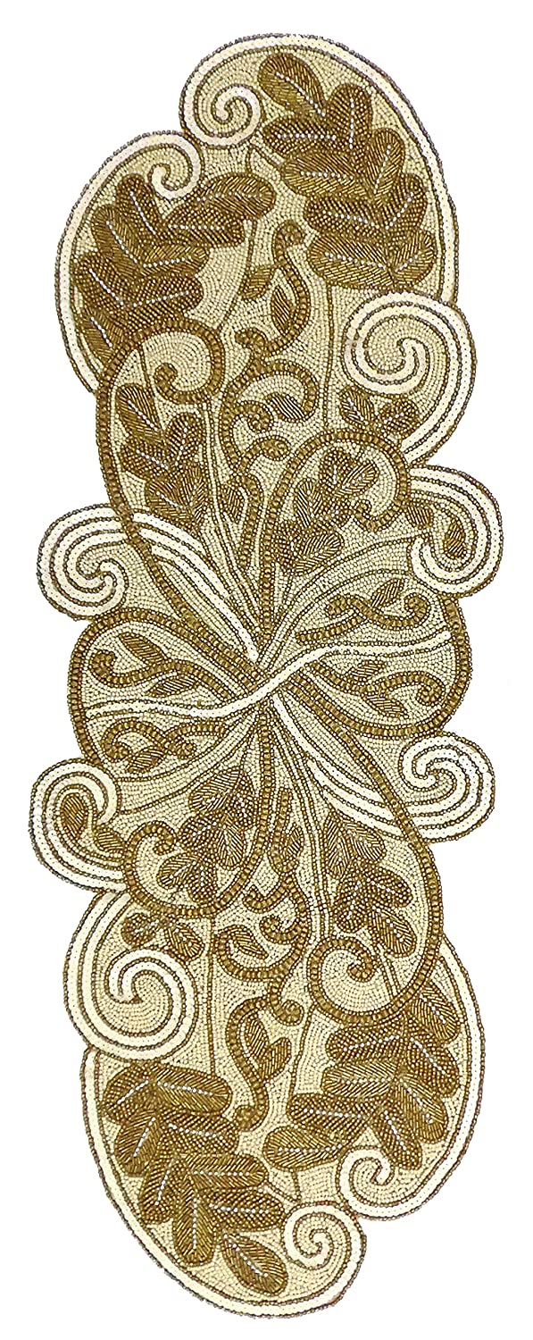 Amazon.com: Cotton Craft   Scrolling Leaves Hand Beaded Table Runner    Ivory Gold   13x36 Inches Oblong   Hand Made By Skilled Artisans   A  Beautiful ...
