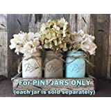 Mason Canning PAINTED Pint JAR ONLY ~ Design a Centerpiece for Kitchen Table Decor ~ Distressed ~Add your own flowers to Ball Pint Jars! Gray Grey Seafoam Blue Turquoise Orange Green Cream Tan Yellow