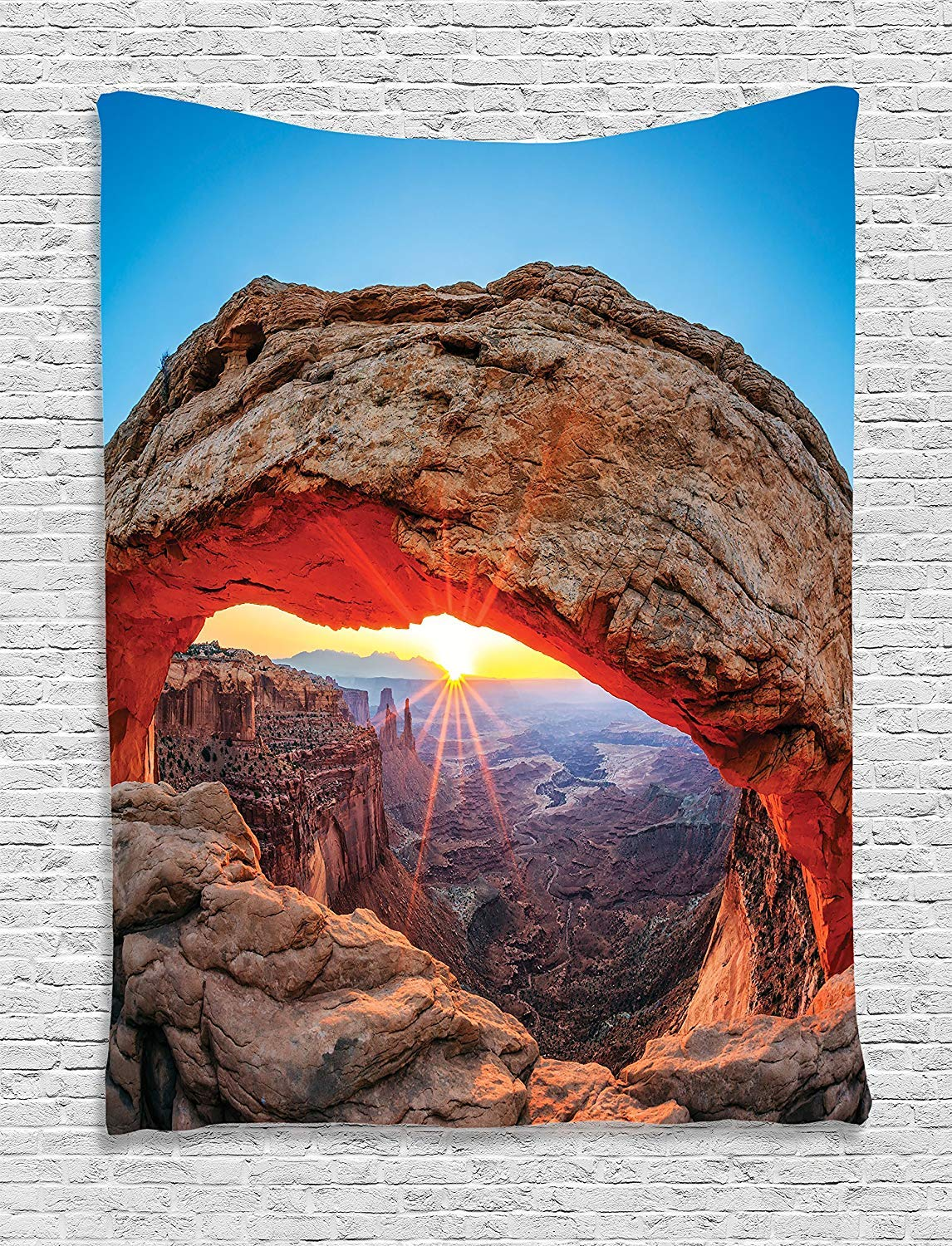 THndjsh Room Decorations Tapestry, Famous Sunrise At Mesa Arch in Canyonlands National Park, Utah, Usa Landmark, Bedroom Living Room Dorm Decor, 40 W x 60 L Inches by THndjsh
