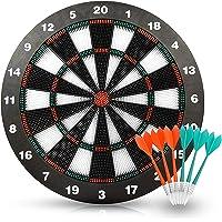 Wuudi Safety Dart Board Set für Kinder, 16,4 Zoll Rubber Dart Board mit 6 Soft Tip Safety Darts Tolles Spiel für Familien Freizeit Sport