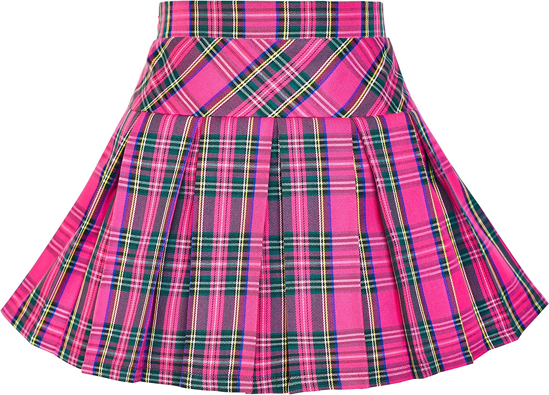 Sunny Fashion Girls Skirt Back School Uniform Red Tartan Skirt Size 6-14: Clothing