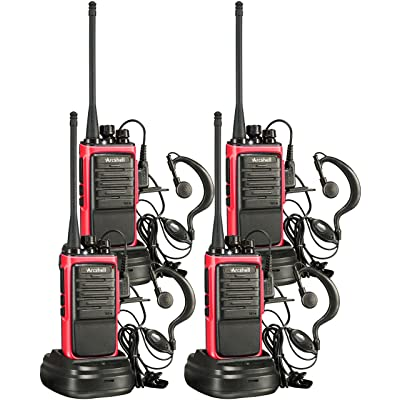Arcshell Rechargeable Long Range Two-Way Radios with Earpiece 4 Pack Walkie Talkies UHF 400-470Mhz Li-ion Battery and Charger Included: Car Electronics