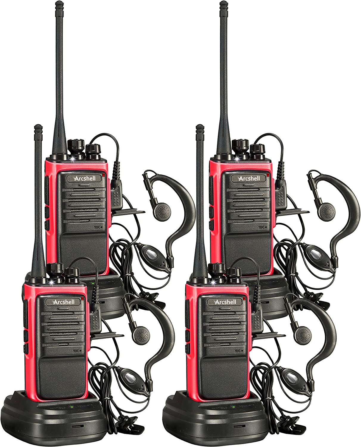 Arcshell Rechargeable Long Range Two-Way Radios with Earpiece 4 Pack Walkie Talkies UHF 400-470Mhz Li-ion Battery and Charger Included