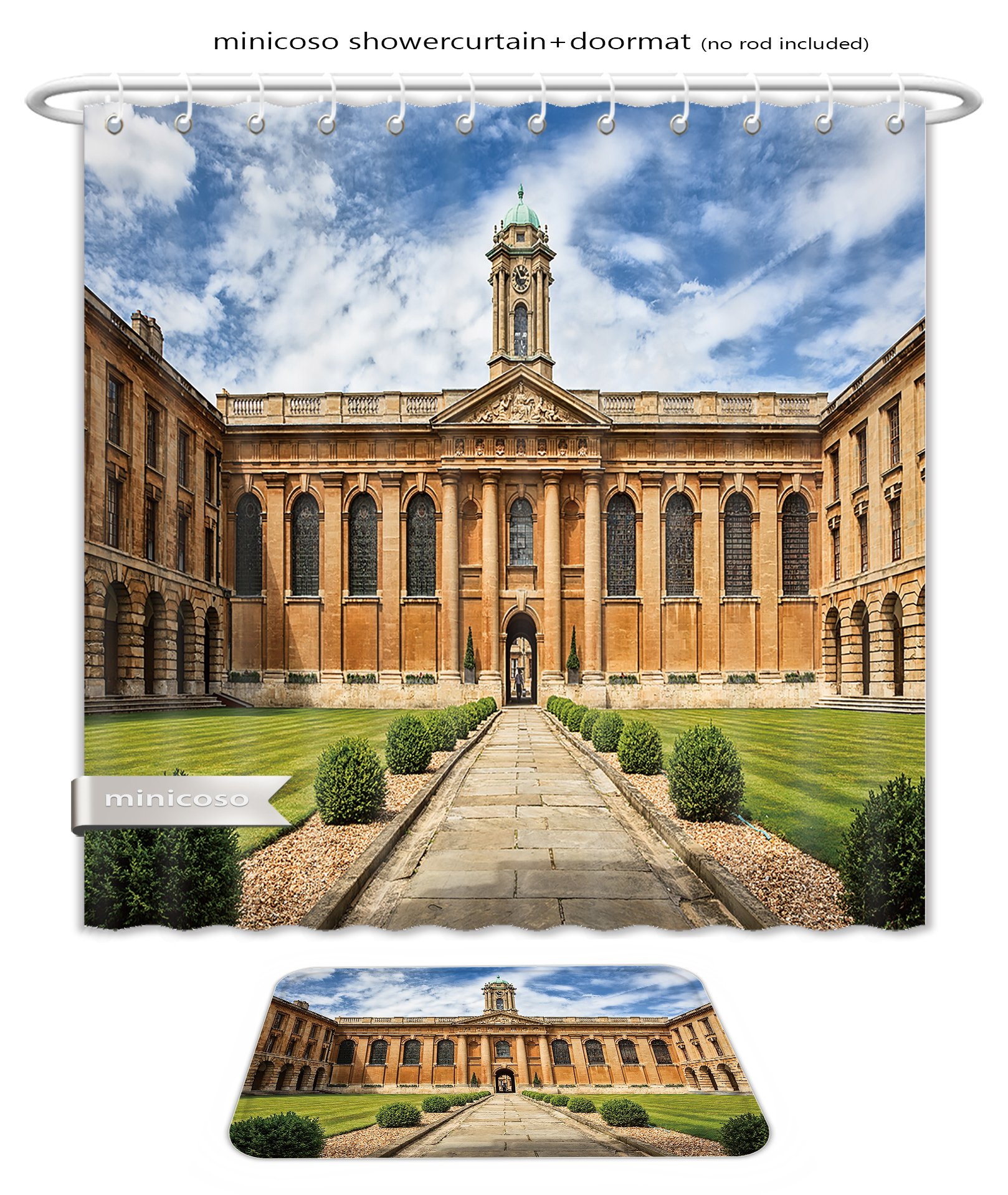Minicoso Bath Two Piece Suit: Shower Curtains and Bath Rugs Oxford University The Queen S College Shower Curtain and Doormat Set