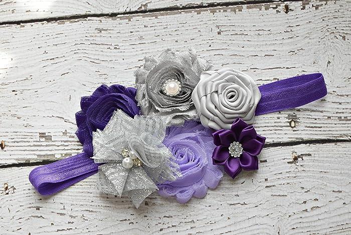 Amazon.com  Dark Purple violet and silver grey Baby Headband ... 9f94c0843f5