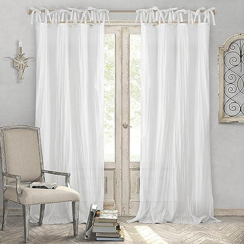 Elrene Home Fashions Crushed Semi-Sheer Adjustable Tie Top Single Panel Window Curtain Drape