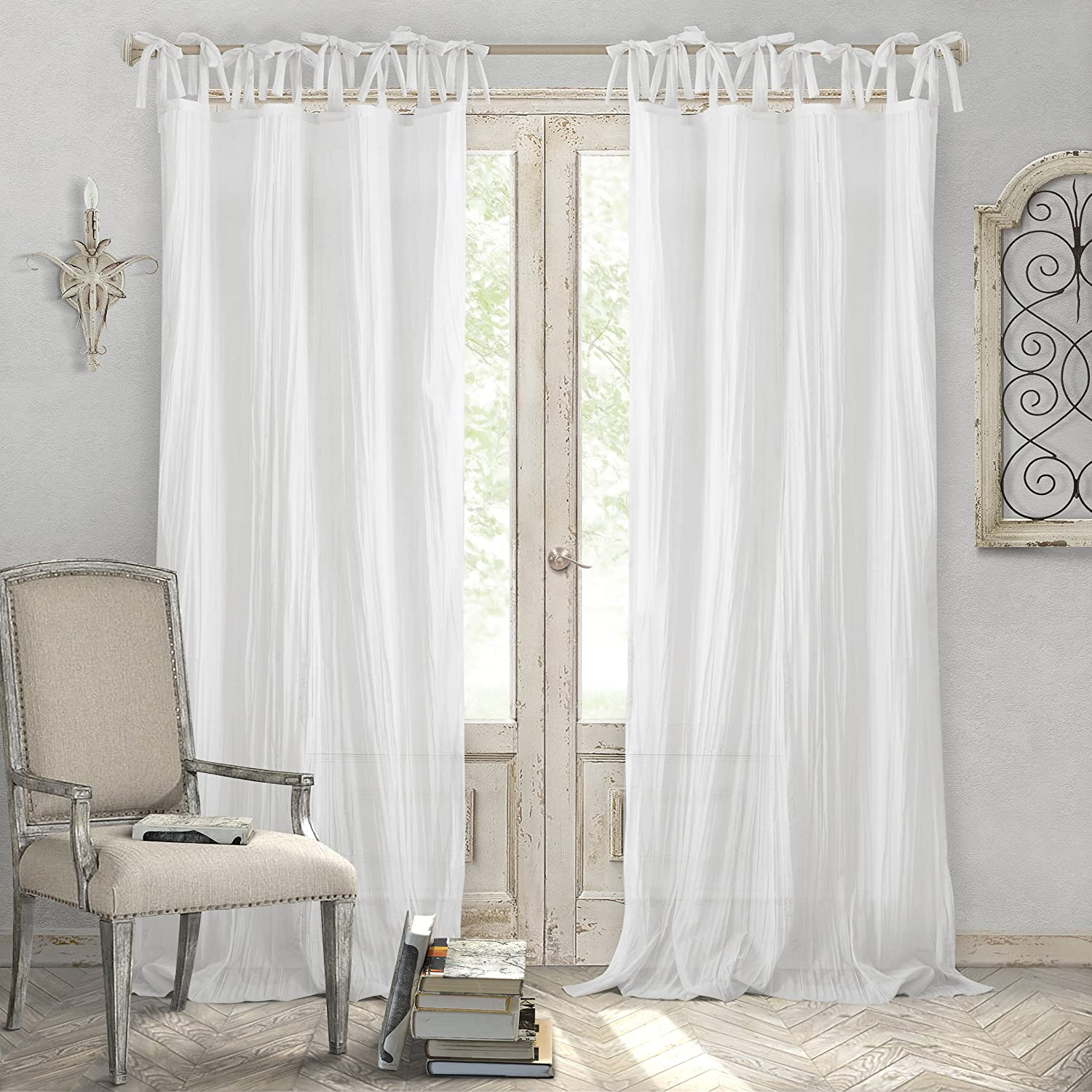 "Elrene Home Fashions Crushed Semi-Sheer Adjustable Tie Top Single Panel Window Curtain Drape 52"" x 108"" (1), White"