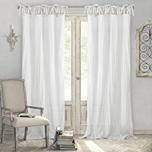 "Elrene Home Fashions Crushed Semi-Sheer Adjustable Tie Top Single Panel Window Curtain Drape 52"" x 108"" (1), White"