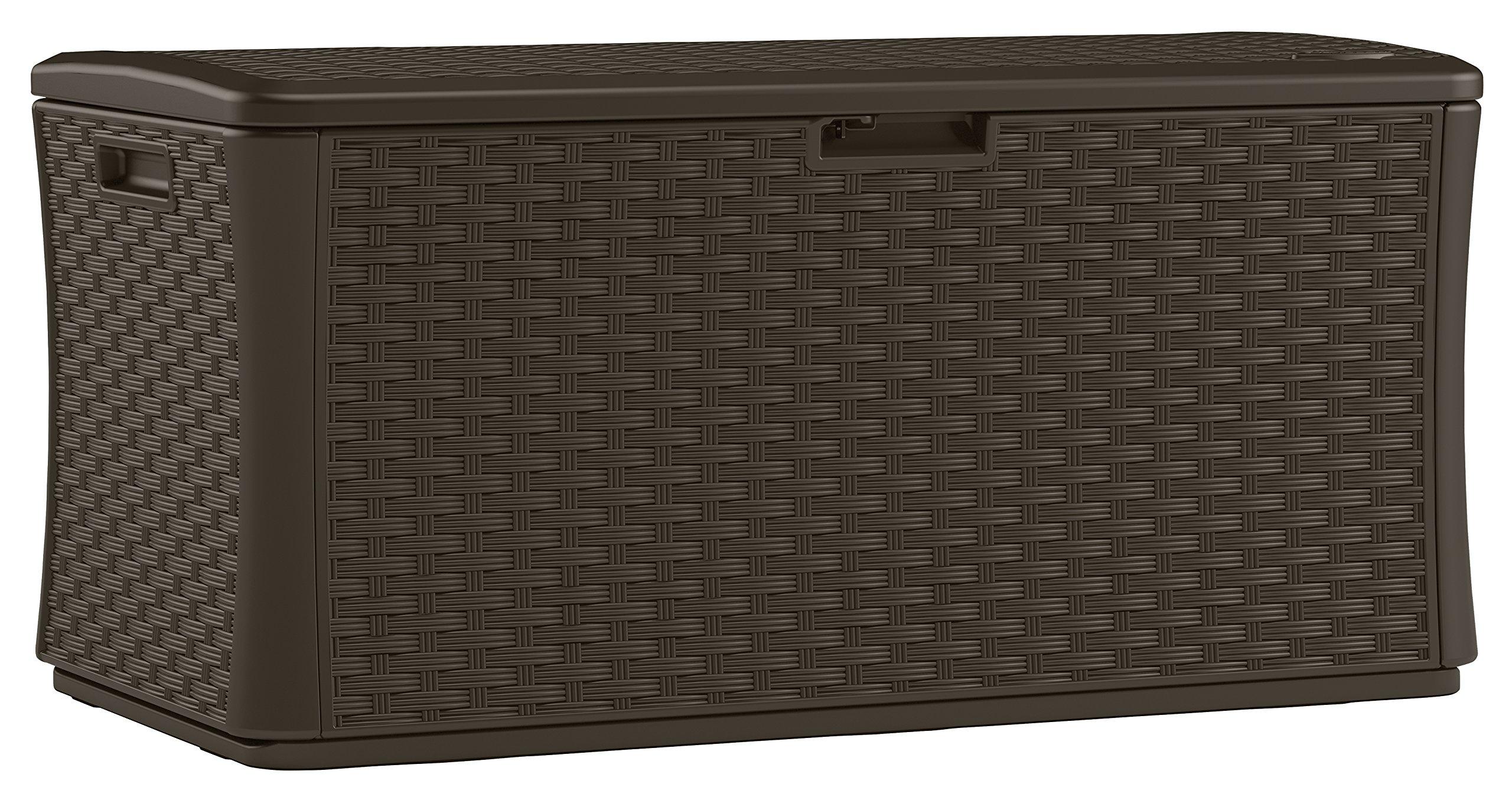 Suncast BMDB134004 Wicker Resin Deck Box, 134 gallon