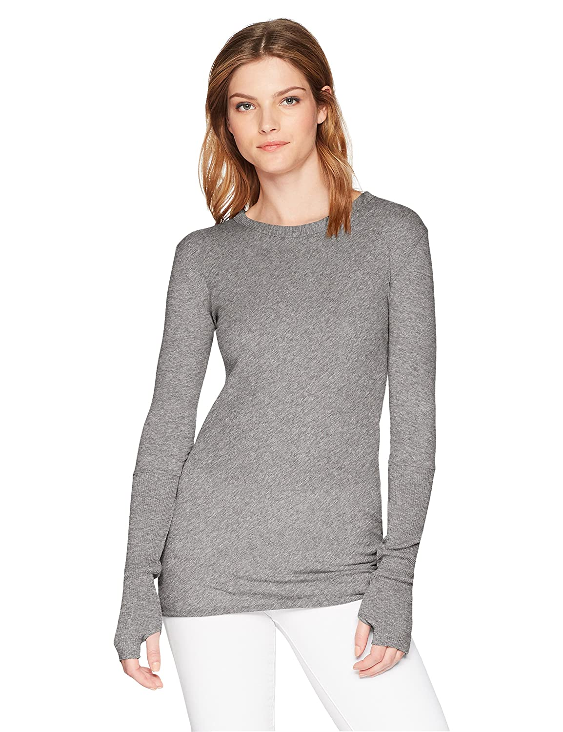 Enza Costa Women/'s Cashmere Long Sleeve Cuffed Crew Top with Thumbholes