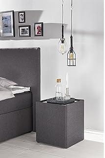 GroBartig Furniture For Friends Möbelfreude® Nachkonsole Nele Anthrazit | Nachttisch  Mit Glasplatte Und Zwei Fächern |