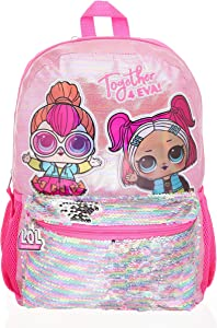 LOL Dolls Backpack for Toddlers, Iridescent Glitter Printed Girl's Bookbag with Sequined Front Pocket, Padded Back and Adjustable Shoulder Straps, Kid's Daypack for School, Camping or Travel