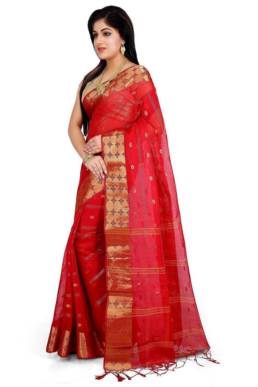 85f4bb8448d7b5 WoodenTant Women s Cotton Handloom Saree with Zari Buti Work (WCS16 ...