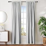 "AmazonBasics Room Darkening Blackout Window Curtains with Tie Backs Set, 42"" x 96"", Light Grey"