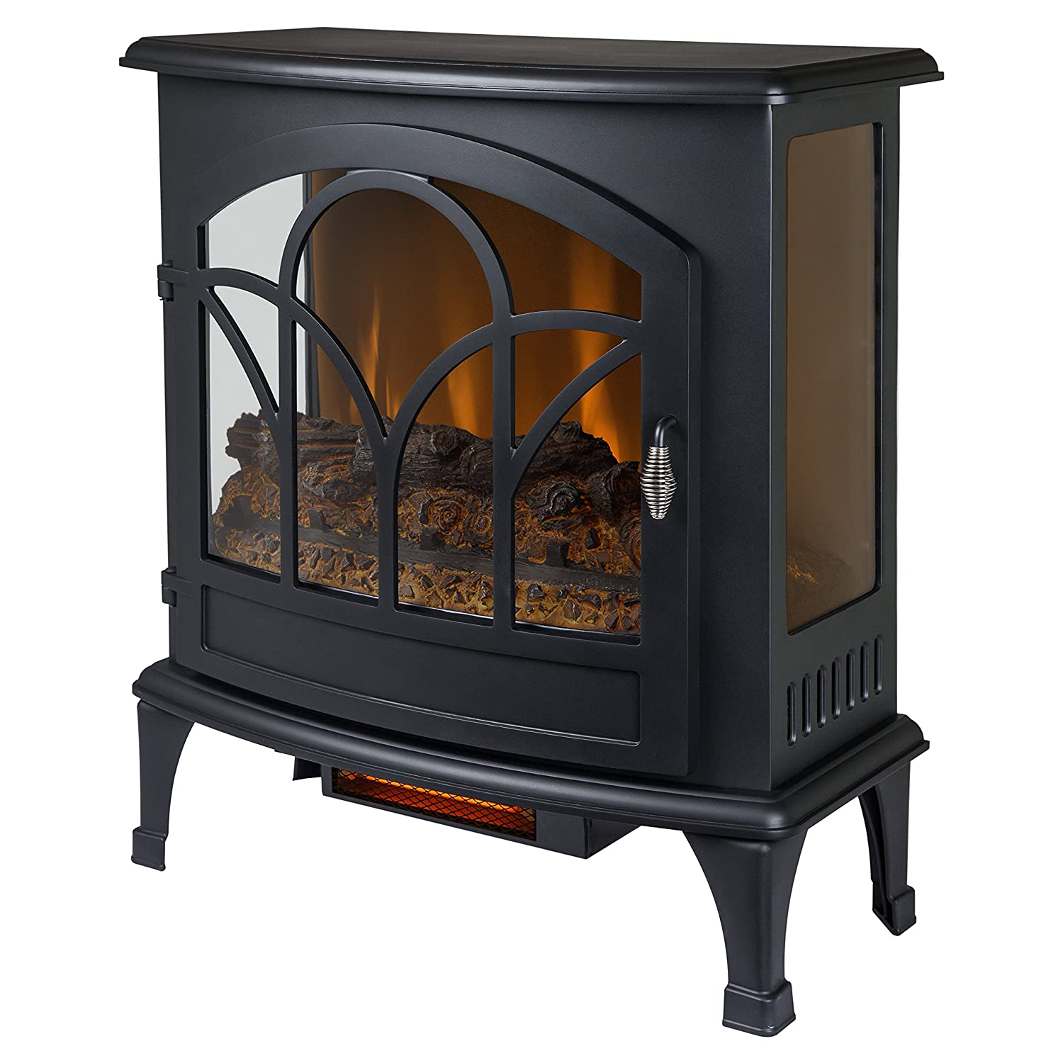 Muskoka Curved Front 25-inch Infrared Panoramic Electric Stove - Black