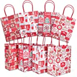 Christmas Gift Bags, 24 Count Christmas Bags for Gifts, Reusable Kraft Xmas Goody Wrapping Bags for Christmas New Year…