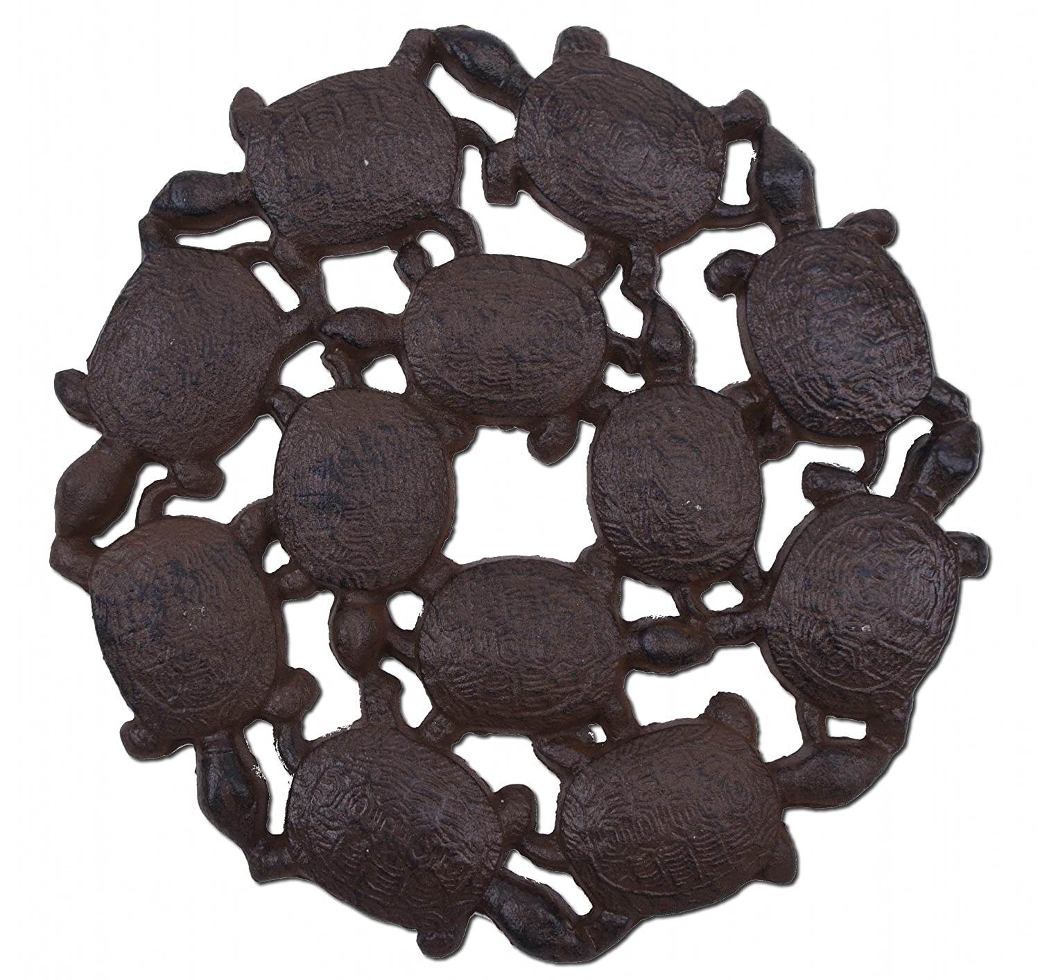 "Import Wholesales Baby Turtles Decorative Stepping Stone Rust Brown Cast Iron 10.25"" Wide Flagstone"