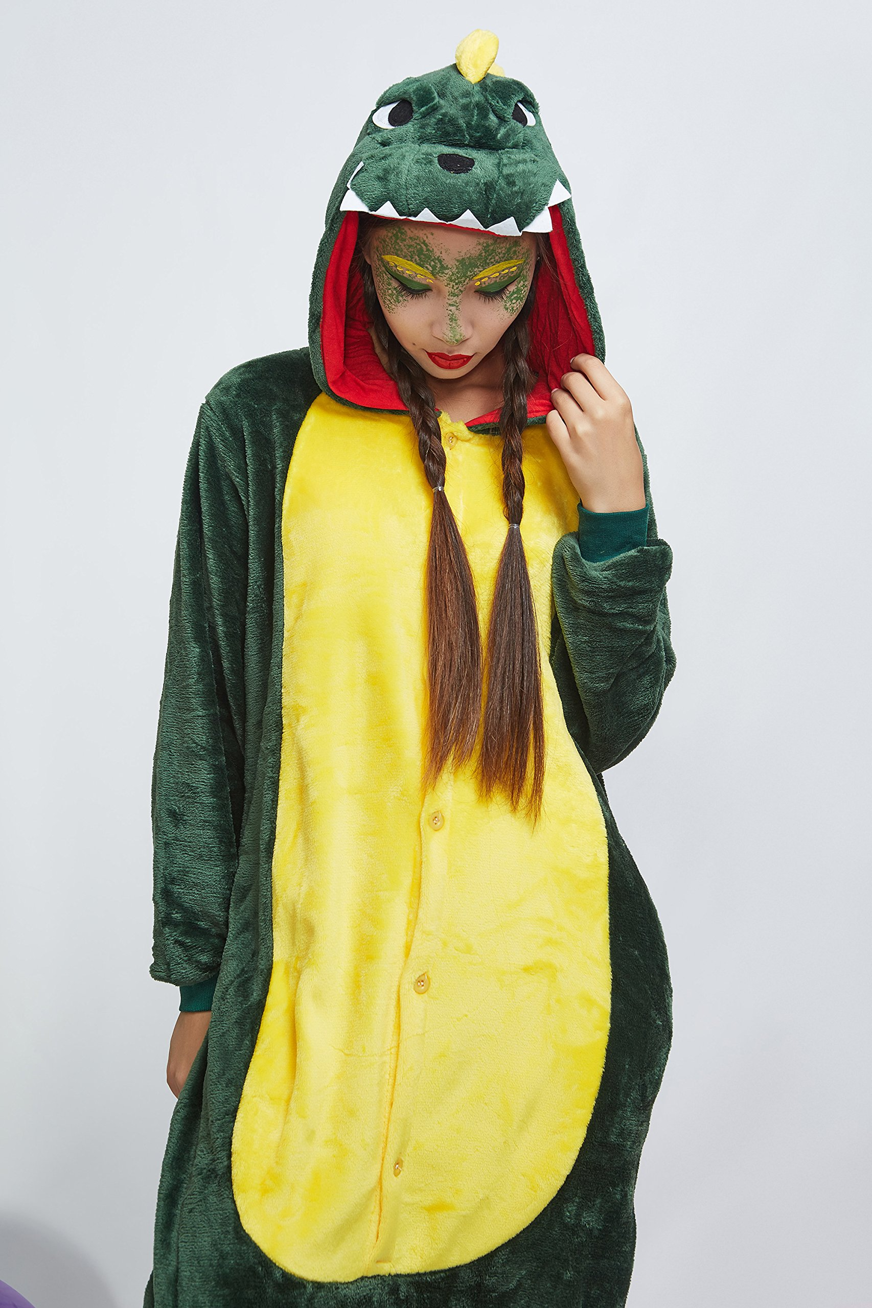 Adult Dragon Kigurumi Animal Onesie Pajamas Plush Onsie One Piece Cosplay Costume (Small, Green) by Nothing But Love (Image #6)