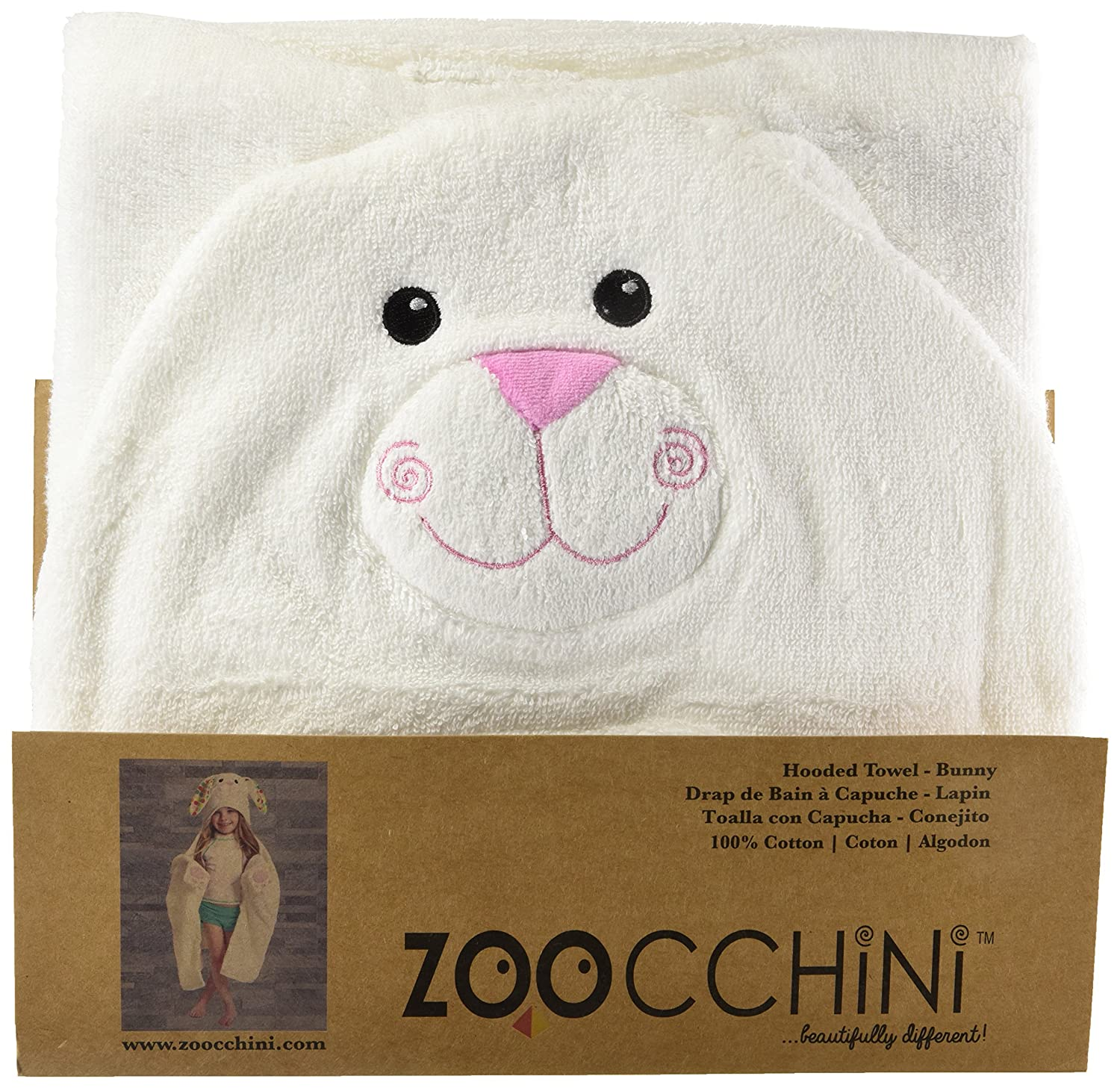 Amazon.com: ZOOCCHINI Hooded Towel, 50 inches x 22 inches, 100% Cotton Plush Terry, Toddlers and Kids, Great for Bath, Pool, and Beach! (Bunny White): Baby