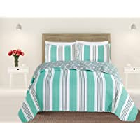 3 Piece Quilt Set with Shams. Soft All-Season Microfiber Bedspread Featuring Attractive Seascape Images. Machine Washable. The Catalina Collection by Great Bay Home Brand.