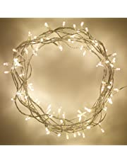 Lights4fun Indoor Fairy Lights with Warm White LEDs on Clear Cable by