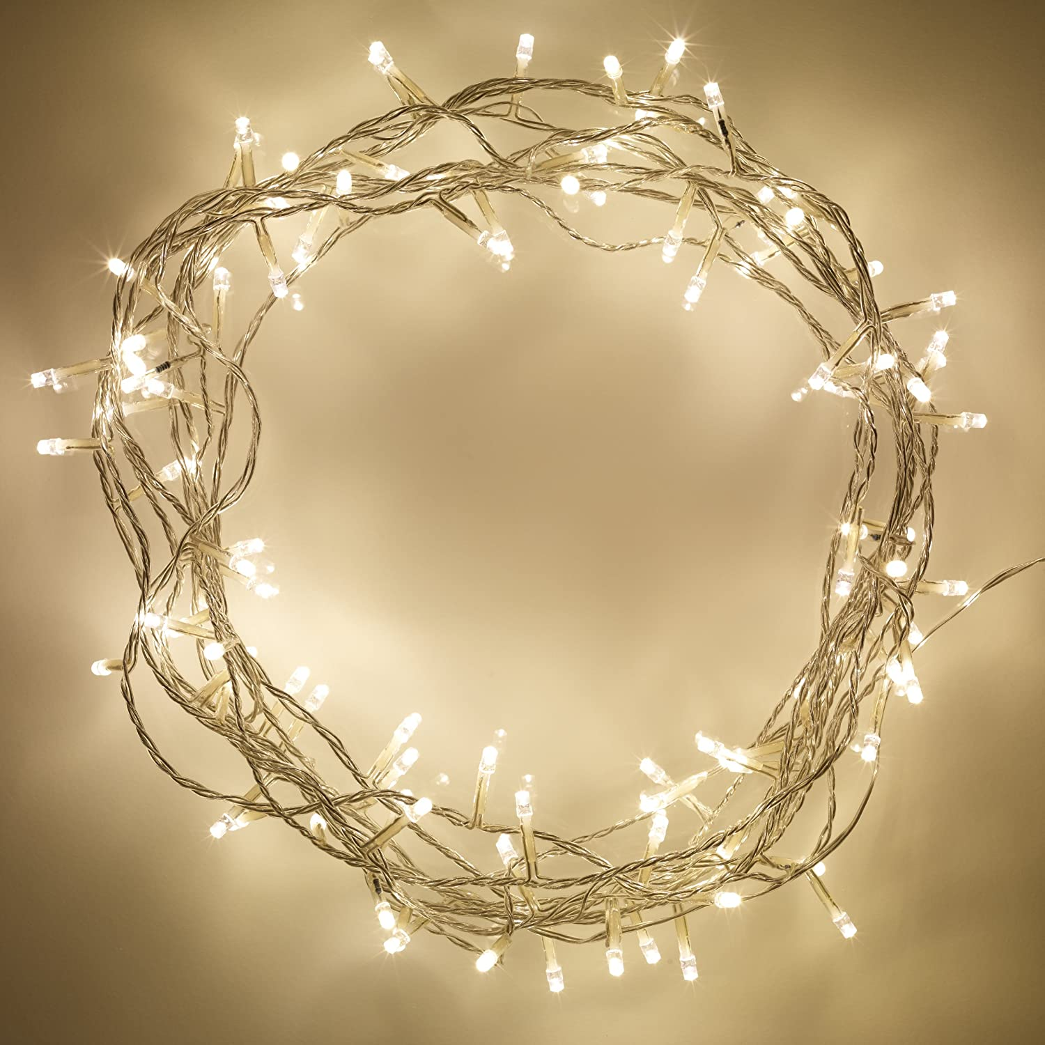 Indoor Fairy Lights with 100 Warm White LEDs on 8m of Clear Cable by Lights4fun SLF-100-YWC