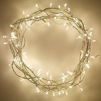 Guirlande lumineuse dintérieur avec 100 led blanc chaud sur câble transparent 8m par lights4fun amazon fr luminaires et eclairage