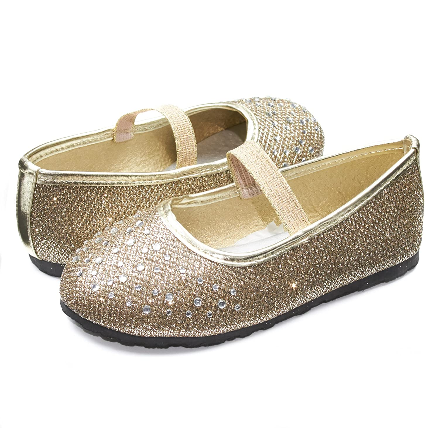 Sara Z Kids Toddlers Girls Glitter Mesh Ballet Flat Slip On Shoes With Rhinestones and Elastic Strap