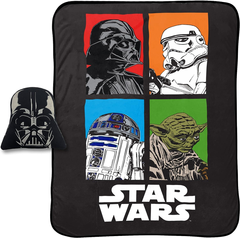 "Jay Franco Darth Vader 62"" x 90"" Blanket, Kids Super Soft 2 Piece Nogginz Set (Official Product), Star Wars Classic"