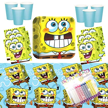 Amazon.com: Sponge Bob Classic Party Supplies Pack sirve 16 ...