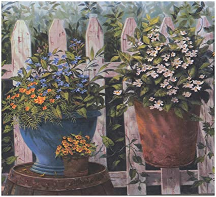 Blue Orange White Yellow Flowers in Pots Fenced Yard Country Wallpaper  Border Farmhouse Design, Roll 15' x 8 5''
