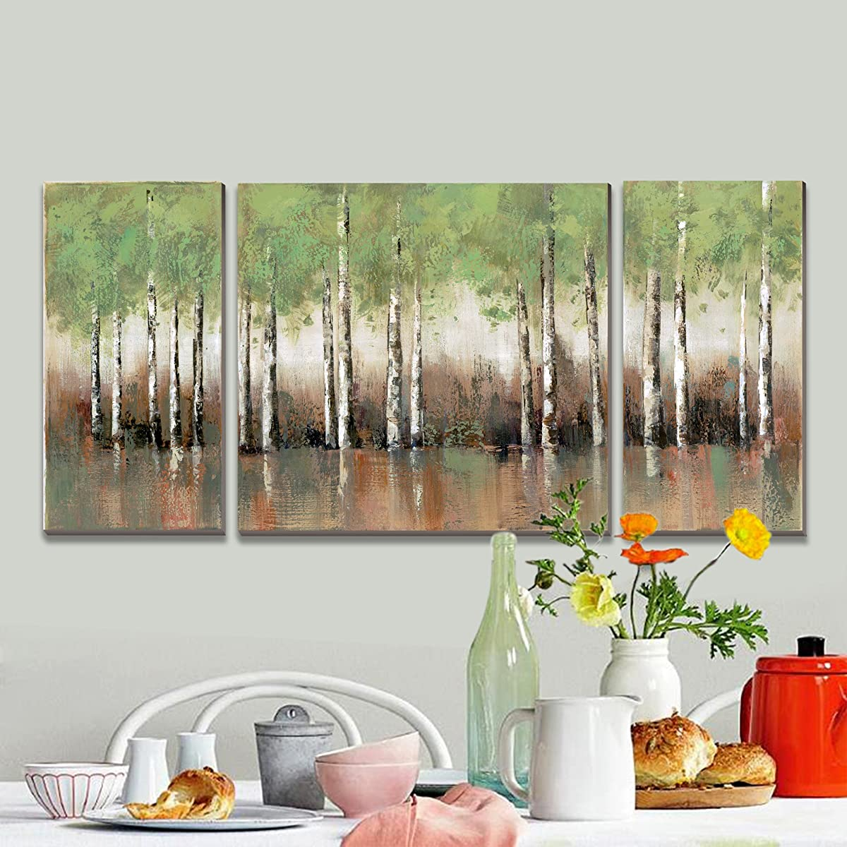 3Hdeko - Birch Tree Green Forest Wall Art Aspen Grove Landscape Painting Print on Canvas for Living Room Bedroom Kitchen 3 Pieces Modern Home Decoration
