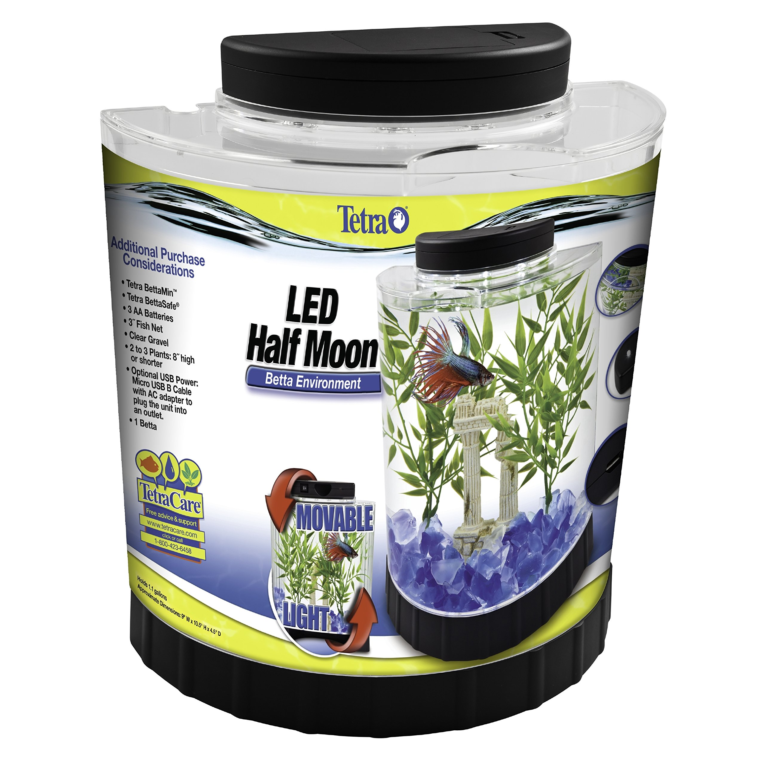 Betta Fish Aquarium Tank Half Moon Bowl Filter Small Gold Tetra Led Light 1 1gl Pet Supplies Fish Aquariums