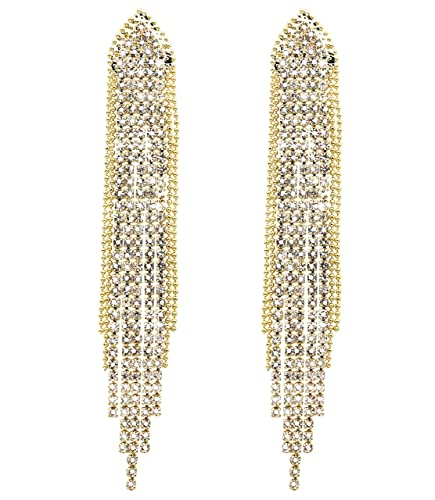 1a4560f79 KristLand - S925 Silver Plated Sleek Chain Tassel Drop Earrings Long Fringe  Dangle Simple Style Bead
