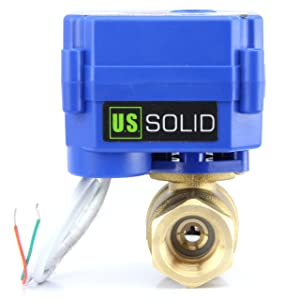 "Motorized Ball Valve- 1/2"" Brass Ball Valve with Full Port, 9-24V AC/DC and 2 Wire Auto Return Setup by U.S. Solid"