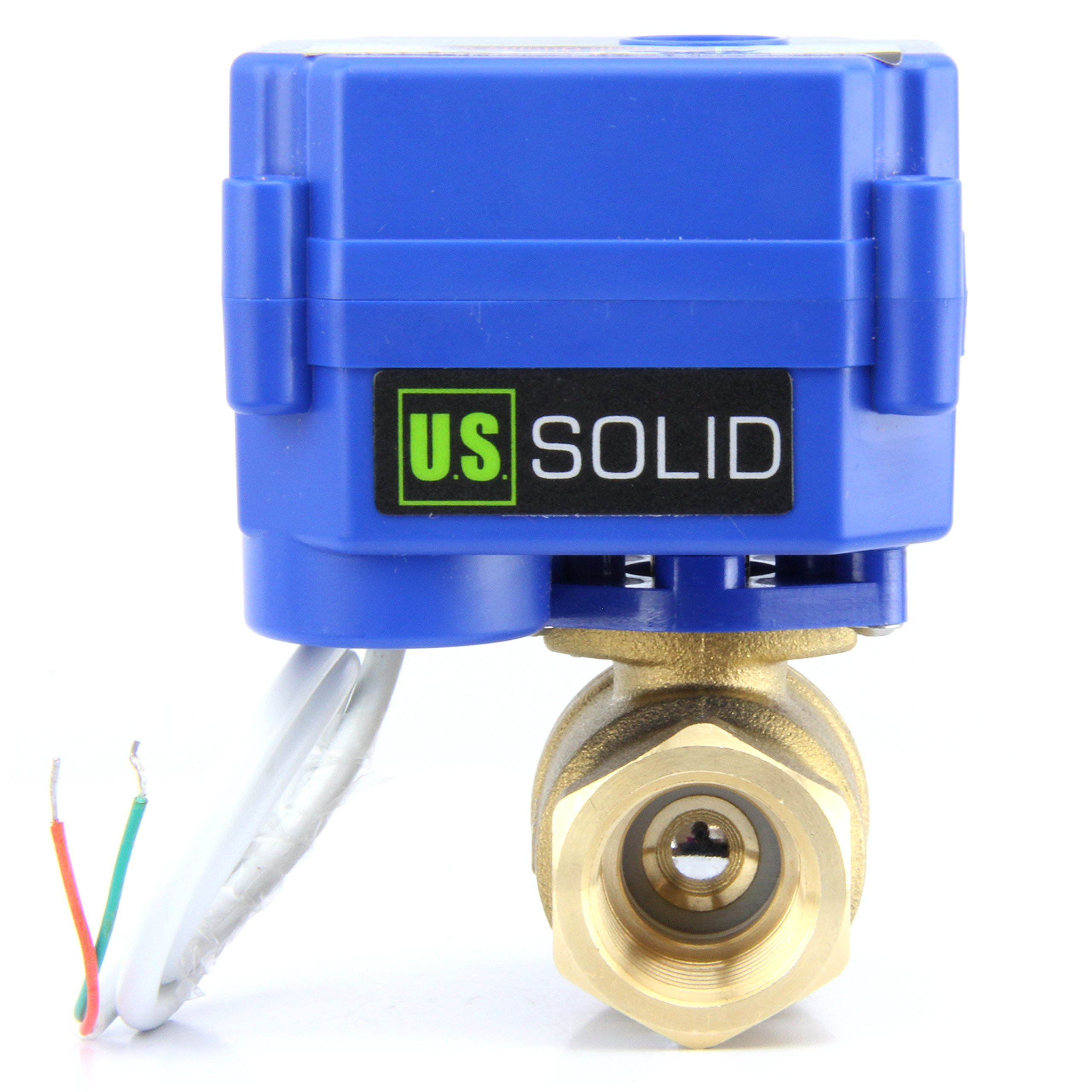Motorized Ball Valve- 3/4'' Brass Ball Valve with Standard Port, 9-24V AC/DC and 2 Wire Auto Return Setup by U.S. Solid