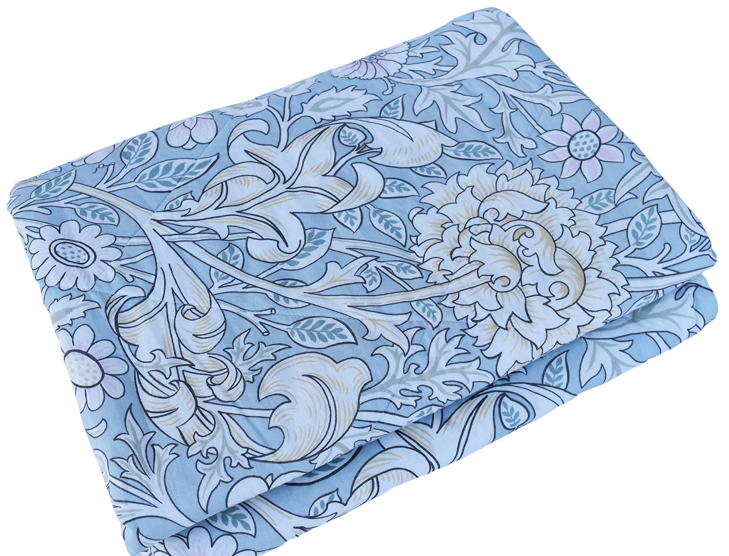 J-pinno Boys & Girls Blooming Flowers Muslin Quilt Comforter Bedding Coverlet Twin, 100% Long Staple Cotton Filling, Lightweight Throw Blanket Kid's Bedroom (Twin 59'' X 78'', flowerg)