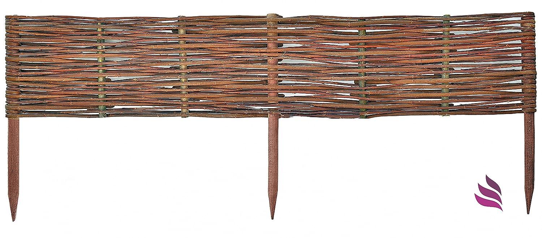 Floranica® - Clôture, bordure en bois imprégné et 25 tailles - Piquets en bois de saule, bordure de plate-bande, de hêtre imprégnés, Longueur:30 cm, Hauteur:10 cm Pemicont