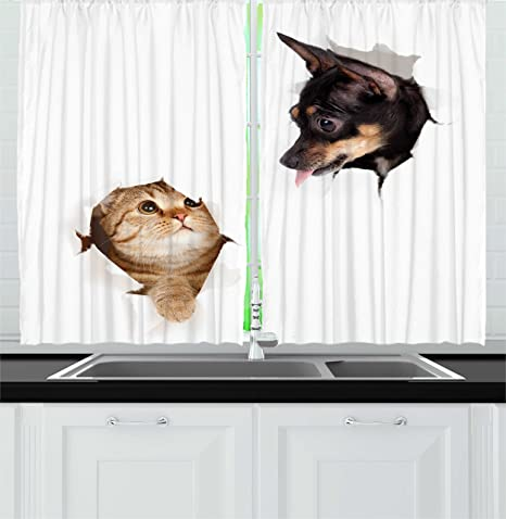 Amazon Com Ambesonne Animal Kitchen Curtains Cat And Dog In Paper Side Torn Holes Funny Kitten And Puppy Photo Print Window Drapes 2 Panel Set For Kitchen Cafe Decor 55 X 39 White