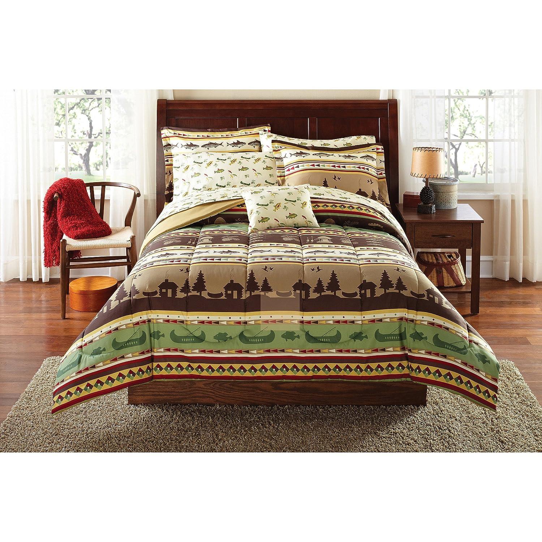 8 Piece Brown Green Fishing Stripes Theme Comforter Queen Set Boats Geometric