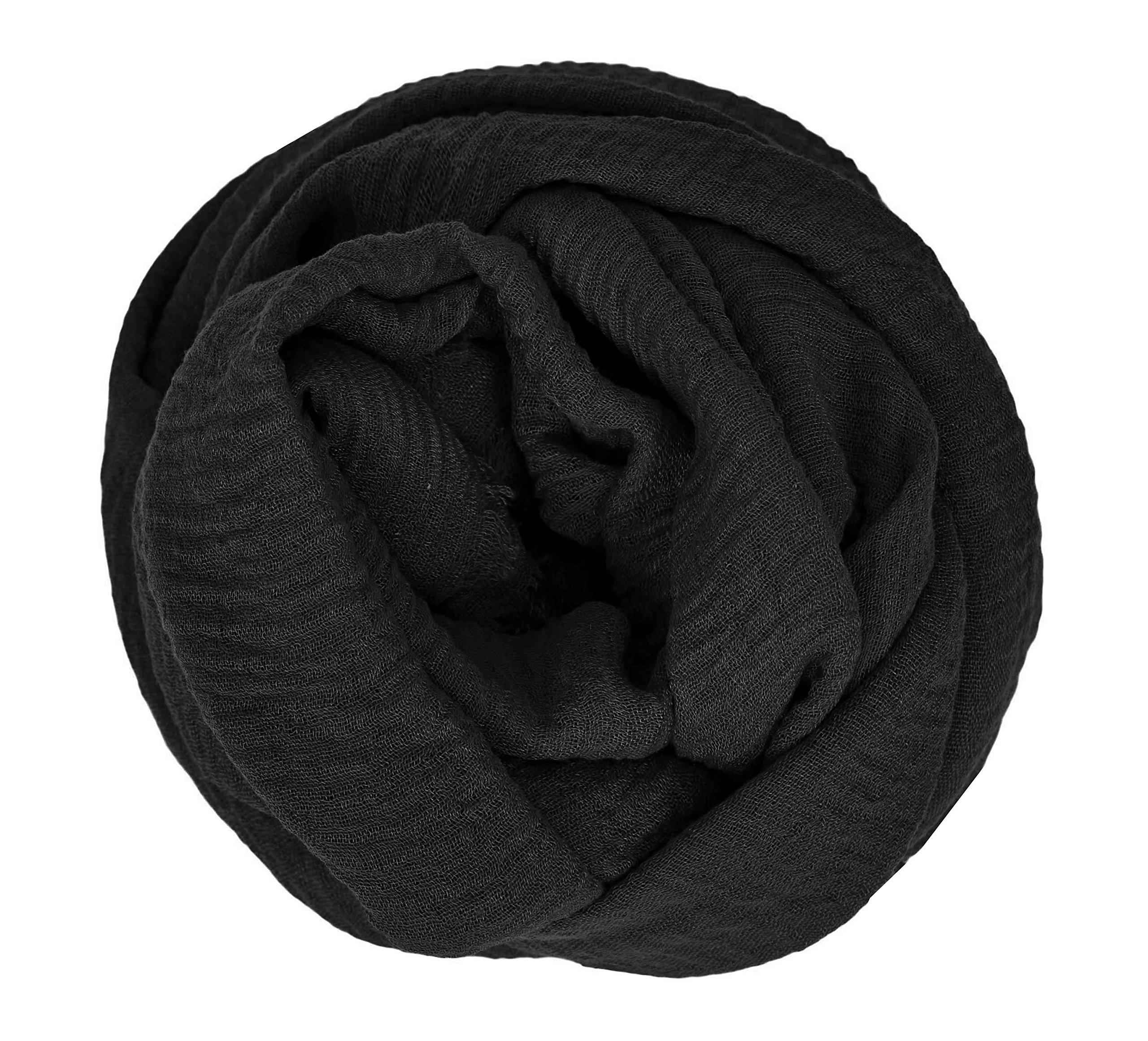Hijab Scarves Shawl Crimp Edges Oversized Frayed Maxi Scarf Cotton Mix*Crinkle