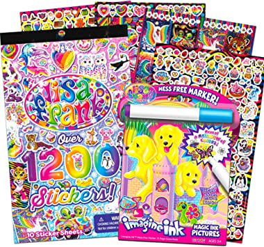 Lisa Frank Imagine Ink Coloring Book and Stickers Set for Kids Toddlers --  Mess Free Magic Ink Coloring Book with 1200 Lisa Frank Stickers (No Mess ...