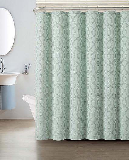 Amazon Crushed Jacquard Shower Curtain Macon Geometric Design