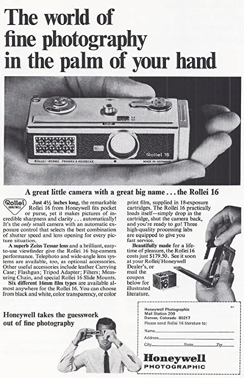 1966 Vintage Print Advertisement For Rollei 16s Posters Prints