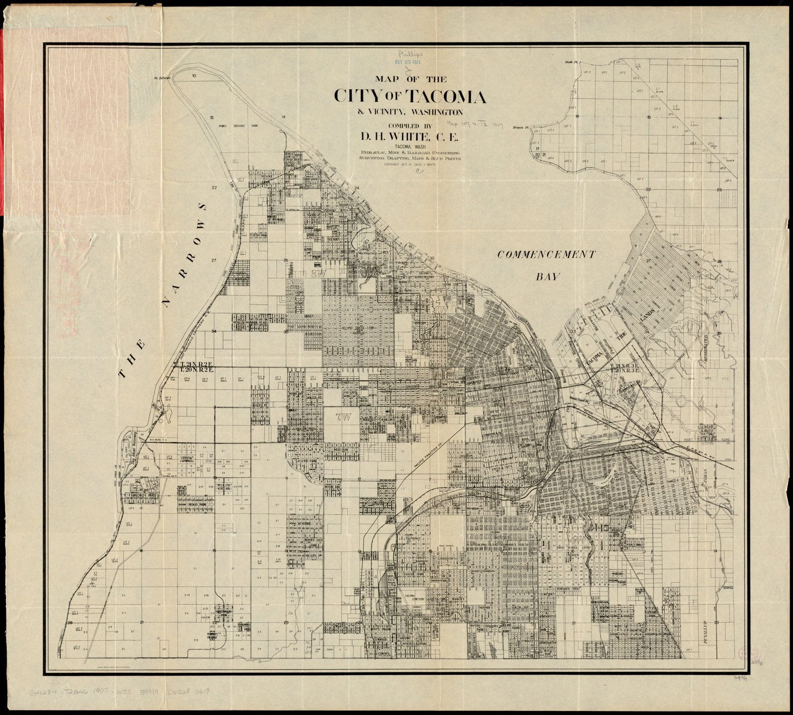 Historic Map | ca. 1907 Map of the city of Tacoma & vicinity, Washington | Antique Vintage Reproduction